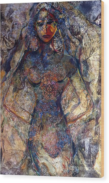 Lady Of Los Lunas Wood Print by Charles B Mitchell