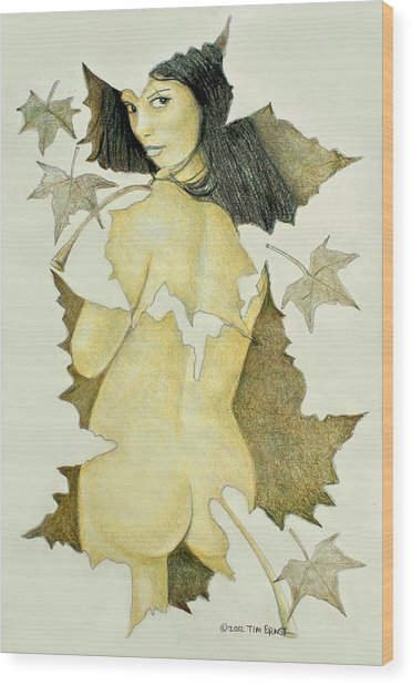 Lady Of The Leaf 4 Wood Print