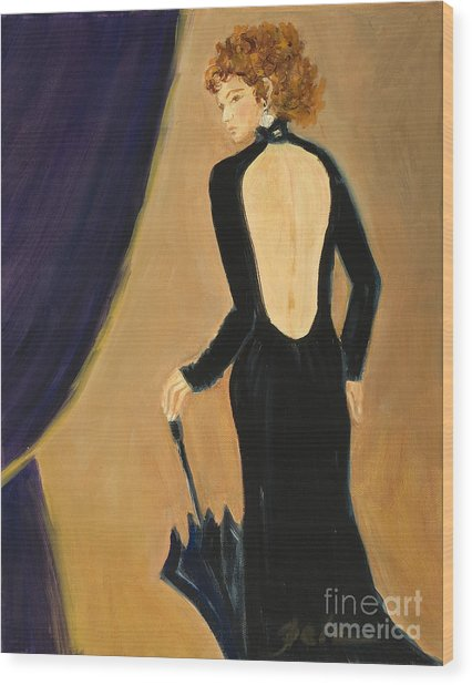 Lady On Stage Wood Print