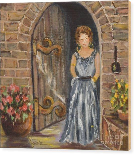 Lady Waiting Wood Print