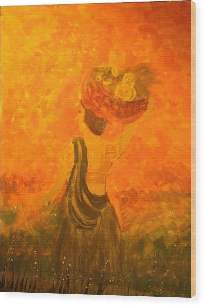 Lady With A Basket Wood Print