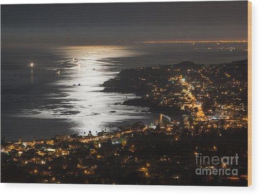 Laguna Beach Moonlight Wood Print