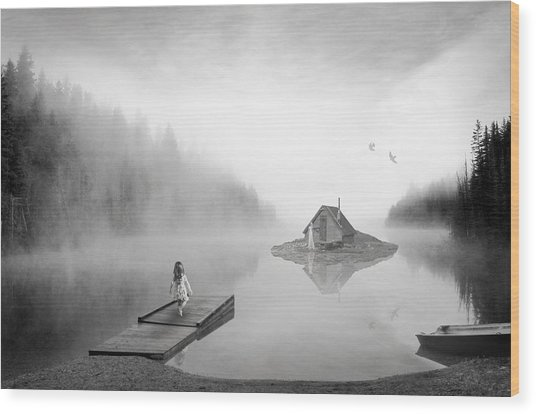 Lake House Wood Print