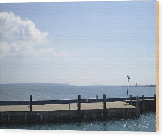 Lake Huron Harbor And Mackinaw Island View - Michigan Wood Print