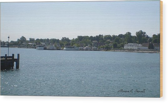Lake Huron Shoreline Collection - St. Ignace Mi Harbor Wood Print