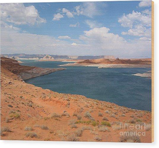 Lake Powell Landscape Panorama Wood Print by Merton Allen