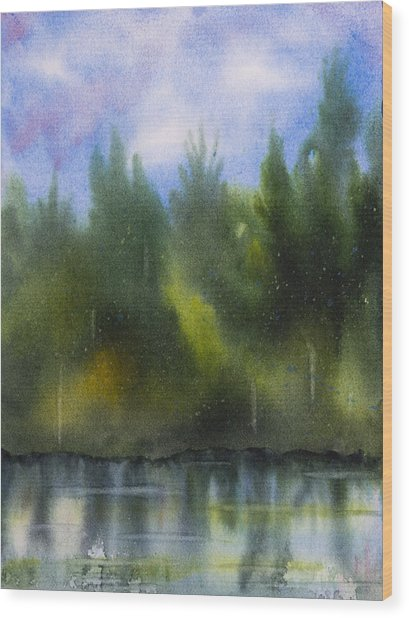 Lake Reflecting Trees Wood Print by Debbie Homewood