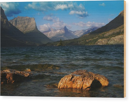 Lake St Mary Glacier National Park Wood Print