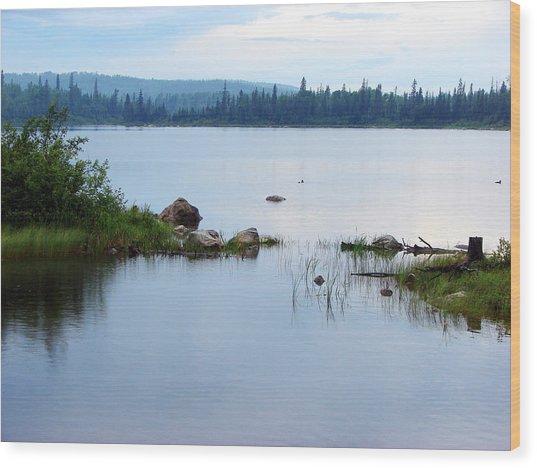 Lake West Of Wawa Wood Print