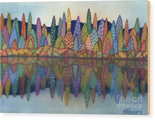 Lakeside Reflection Wood Print