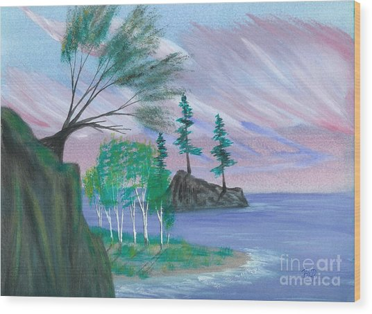 Lakeside Symphony Wood Print by Robert Meszaros