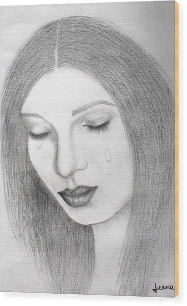 Lamenting Soul Wood Print by Rejeena Niaz