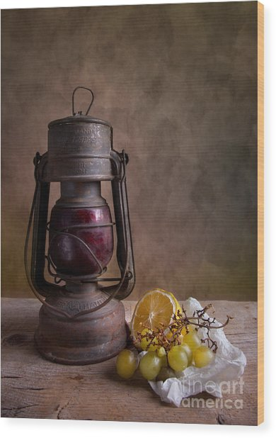 Lamp And Fruits Wood Print