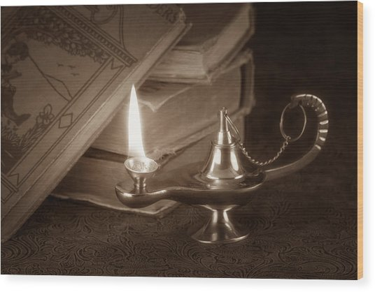Lamp Of Learning Wood Print