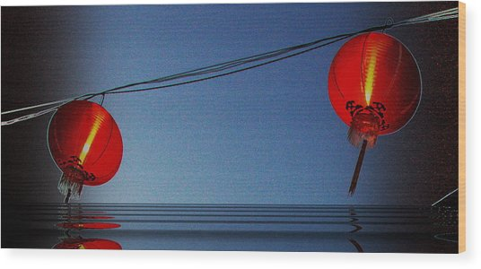 Lampion Wood Print