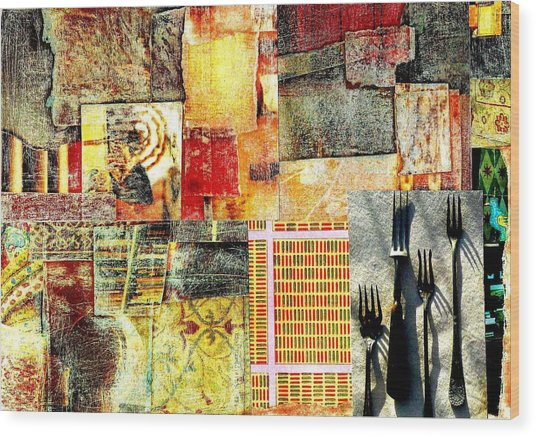 Landscape With Forks Wood Print by Jann Sage