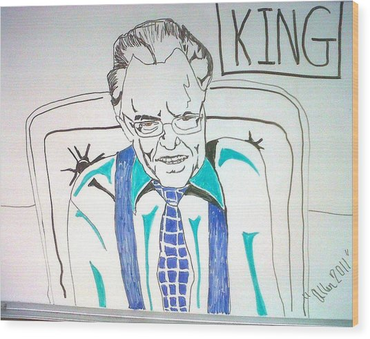 Larry King Wood Print by Allen Walters
