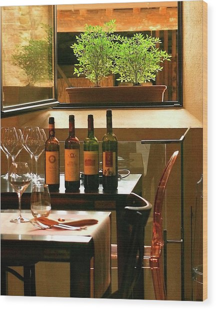 Wood Print featuring the photograph L'assedio Ristorante by Vicki Hone Smith
