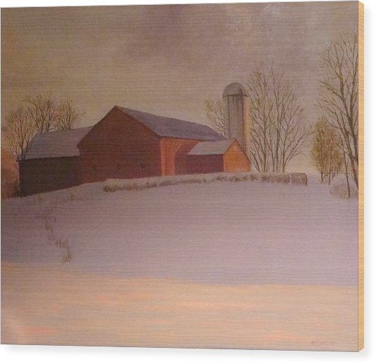 Late Winter At The Lufkin Farm Wood Print by Mark Haley