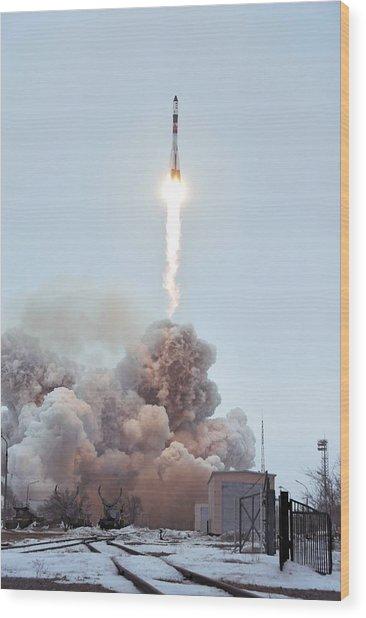 Launch Of Progress 66 Cargo Mission Wood Print by Ria Novosti