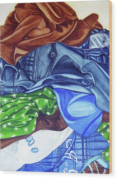 Laundry No4 Wood Print by Mic DBernardo