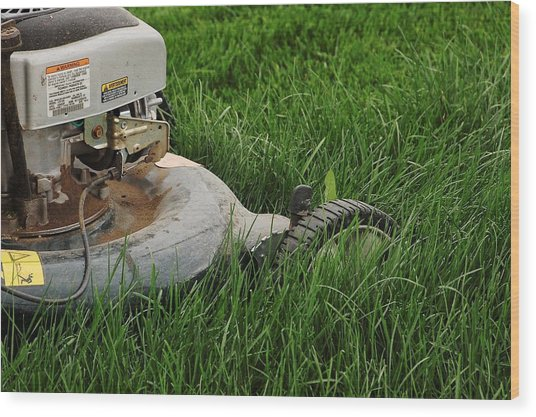 Lawn Mower Wood Print