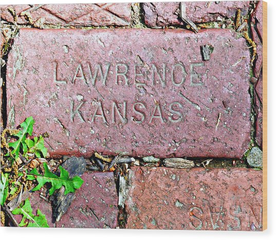 Lawrence Kansas Brick Paver Wood Print