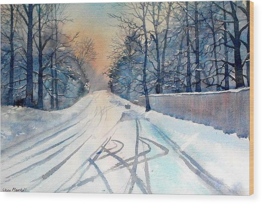 Layby In The Snow Wood Print