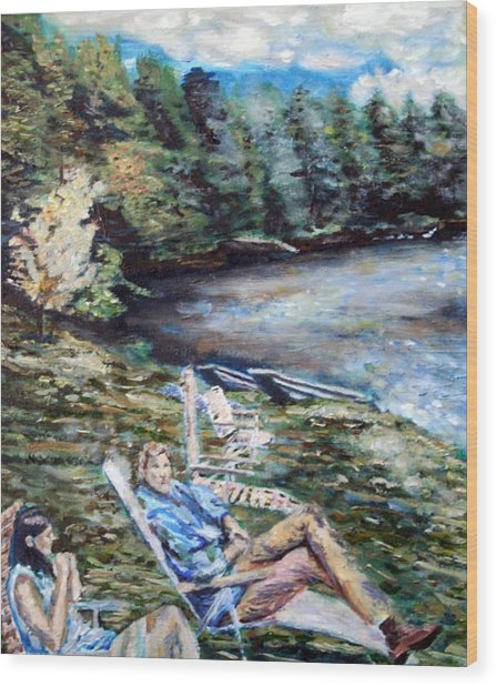 Lazy Day On The Mill Pond Wood Print by Denny Morreale