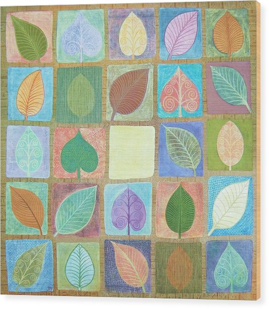 Leafy Squares Wood Print by Jennifer Baird