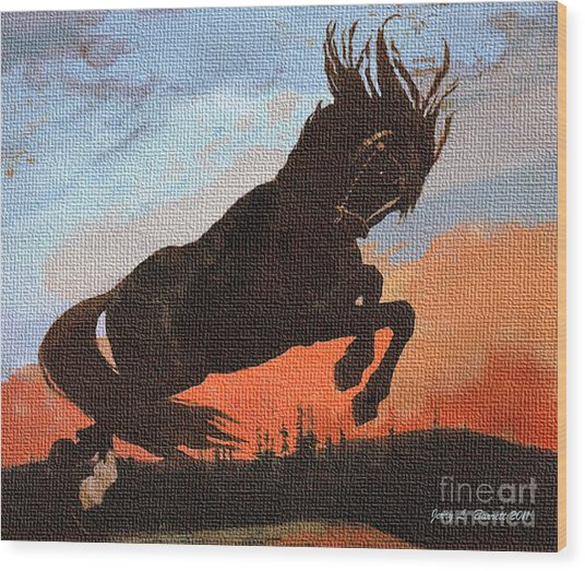 Leaping Black Horse Wood Print by Jerry L Barrett