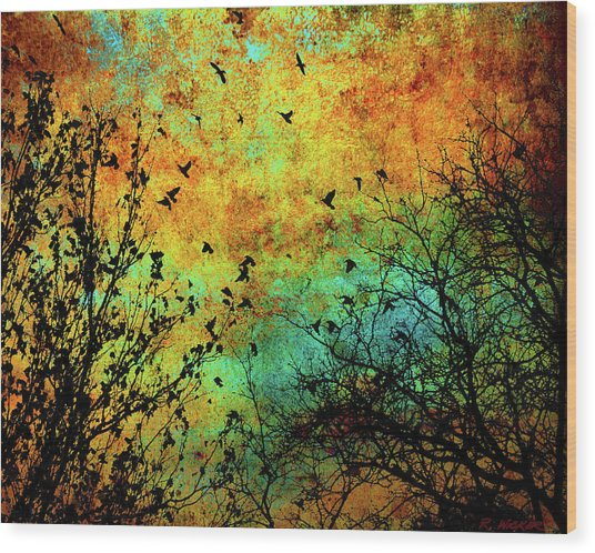 Leaves To Feathers Wood Print