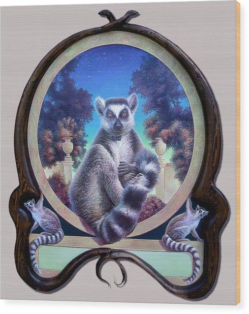 Zoofari Poster The Lemur Wood Print