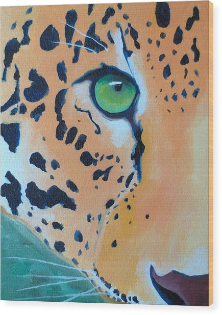 Leopard Eye Wood Print by John  Sweeney