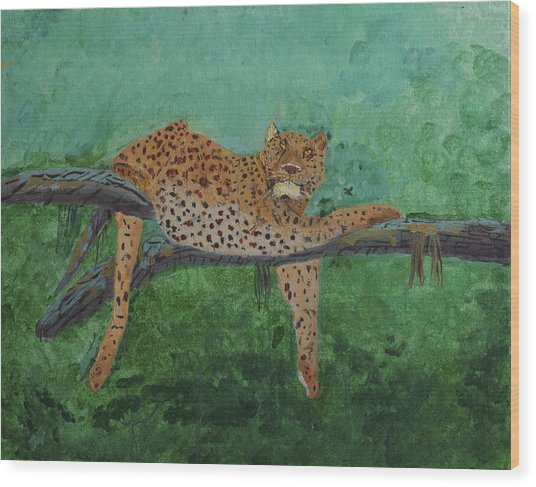 Leopard Laying On A Branch Wood Print