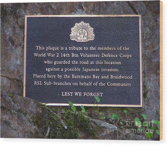 Lest We Forget Wood Print by Joanne Kocwin