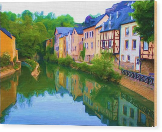 Life Along The Alzette River Wood Print