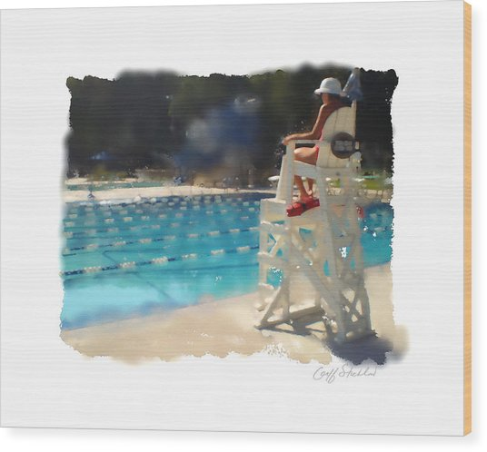 Lifeguard At Tosa Pool Wood Print by Geoff Strehlow