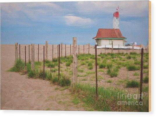Lifeguard Hut Seen Through Fence Wood Print