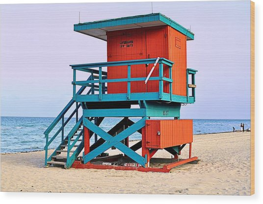 Lifeguard Tower Wood Print by Andres LaBrada