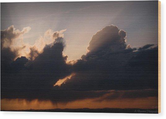 Light Rays And Rainy Skies Wood Print by Aaron Burrows