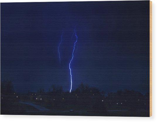 Lightening Strikes Wood Print by Trudy Wilkerson