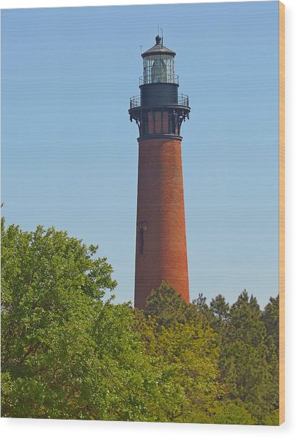 Lighthouse At Corolla N C Wood Print by J D  Whaley