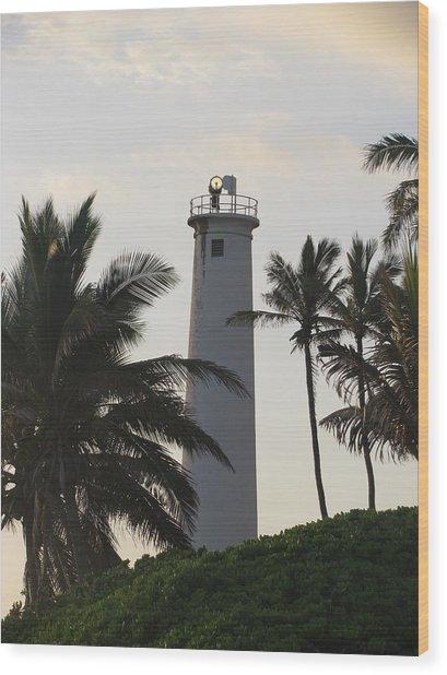 Lighthouse In Hawaii Wood Print
