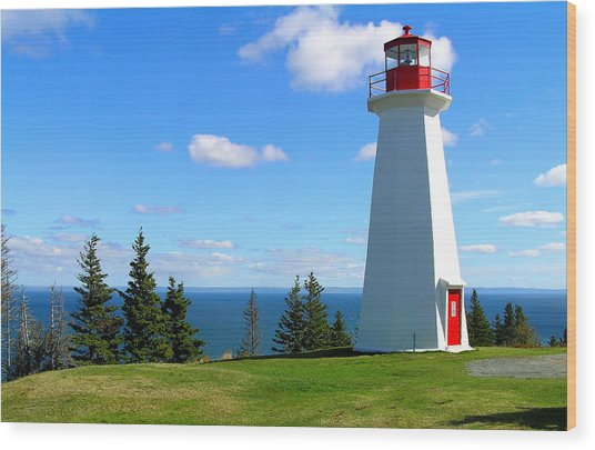 Lighthouse On Nova Scotia Wood Print