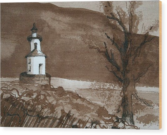 Lighthouse On Wisconsin Point Wood Print