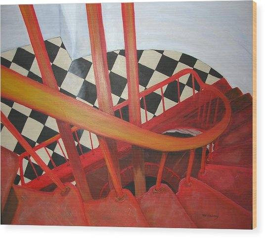 Lighthouse Staircase Wood Print