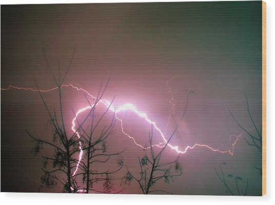 Lightning And Trees Wood Print