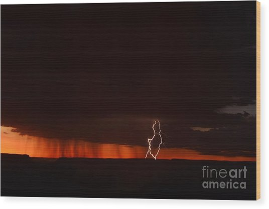 Lightning At The Grand Canyon Wood Print