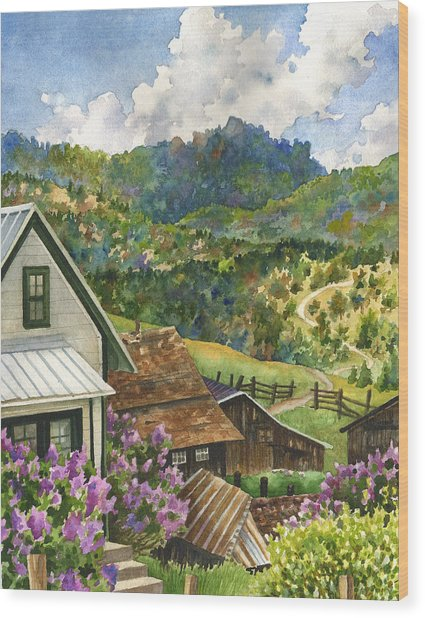 Lilacs At Walker Ranch Wood Print by Anne Gifford